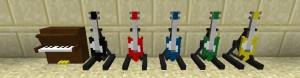 Несколько видов гитар в Minecraft