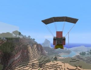 Раскрытие парашюта в игре Minecraft