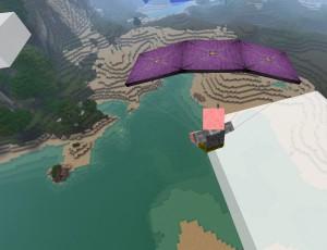 Игрок летит на парашюте
