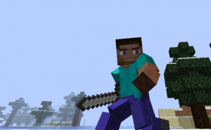 Бегущий игрок в Minecraft