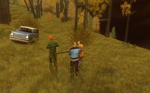 Красивый лес и охотники
