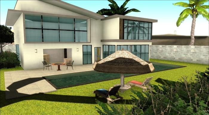 Дом отлично озеленен и со стороны смотрится реалистично, так как детализирован качественно, а не сделан из подручных материалов