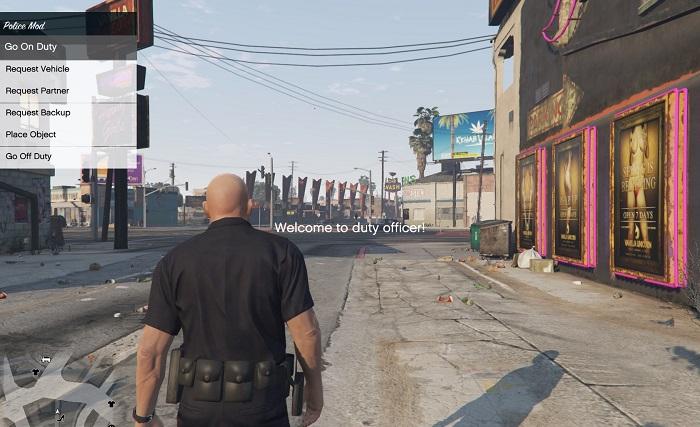 На скриншоте полицейский отправился на дежурство