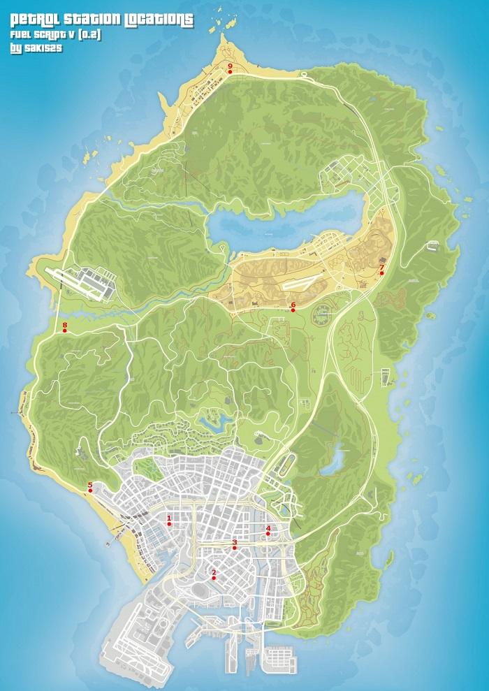 Карта с заправками Лос-Сантоса