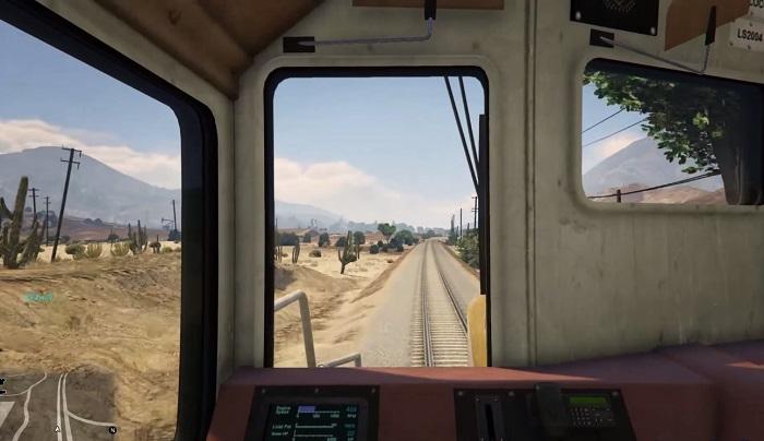Вид из кабины при управлении поездом