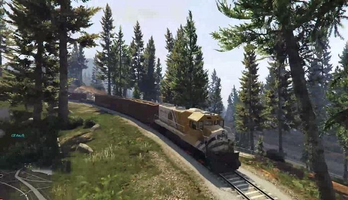 Поезд, едущий по пригородам Лос-Сантоса