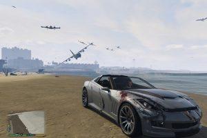 Самолеты атакуют машину