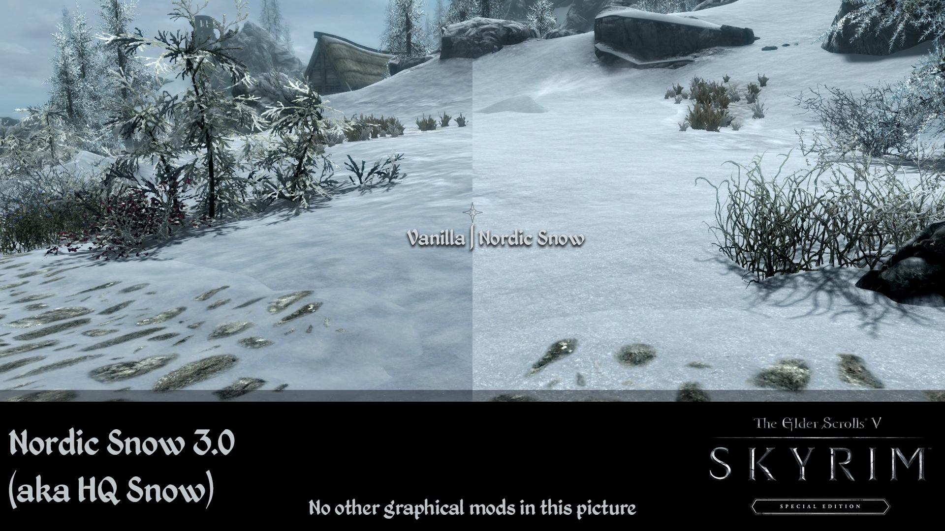 Skyrim SE: Nordic Snow - улучшенные текстуры снега