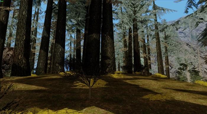 К сожалению, небольшие кустарники видны только вблизи - если игрок на большом расстоянии от них, растения не прогружаются
