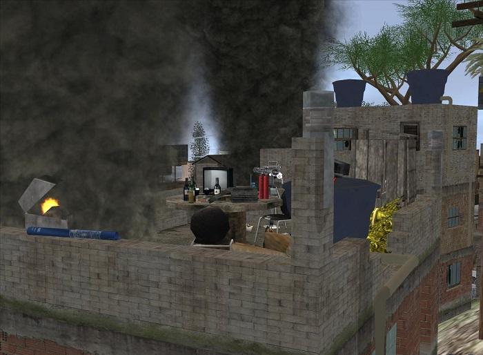 Дым, идущий от мангалов на крышах