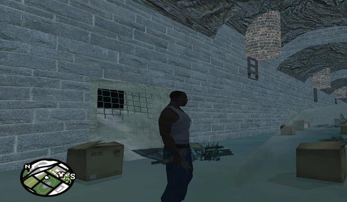 CJ в подземных коммуникациях под Лос-Сантосом