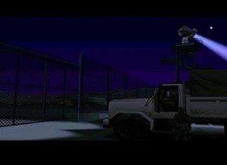 На скриншоты видны забор и прожектор